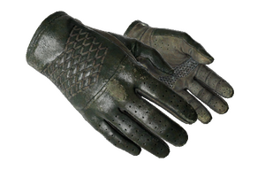 Driver Gloves Racing Green Well Worn