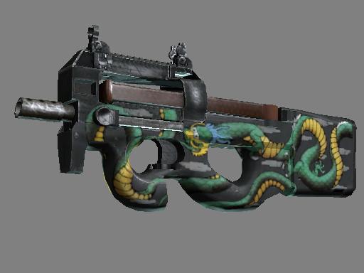 StatTrak™ P90 | Emerald Dragon (Battle-Scarred)