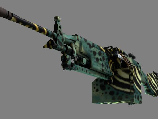 StatTrak™ M249 | Emerald Poison Dart (Well-Worn)