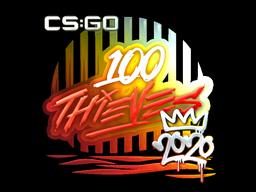 Наклейка | 100 Thieves (металлическая) | РМР 2020