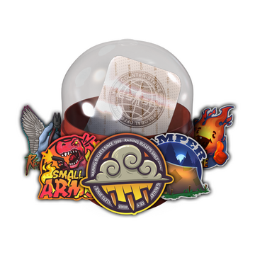 Capsule with title stickers