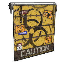 Caution Garage Door