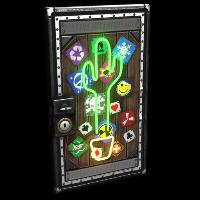 Neon Cactus Metal Door
