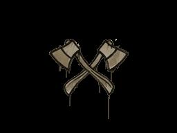 Запечатанный граффити | Скрещённые топоры (Пыльный коричневый)