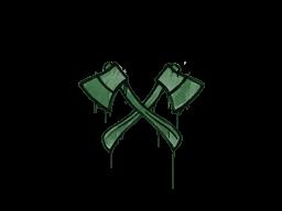 Запечатанный граффити | Скрещённые топоры (Лесной зелёный)