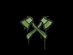 Запечатанный граффити | Скрещённые топоры (Боевой зелёный)