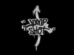 Zalakowane graffiti | Skaczący strzelec (biel żarłacza)