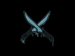 Запечатанный граффити | Скрещённые ножи (Пластиковый синий)