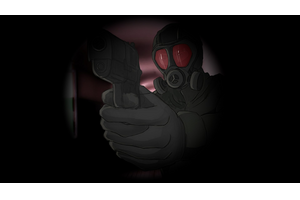 Man With Gun Profile Background