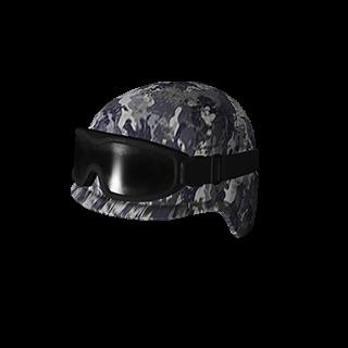 Blue Camo Tactical Helmet w-Goggles